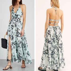 Free People backless tie back maxi blue large